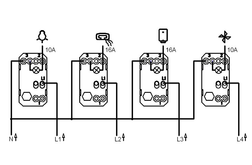 bathroom switch  light  heater  water heater  fan universal 4m